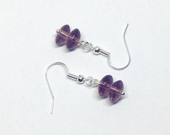 Dainty Amethyst Earrings, Amethyst Rondelle Earrings, Amethyst Jewelry, Sterling Silver Ear Wires, February Birthstone, Gift for Her, Uk