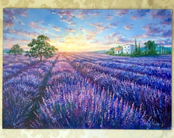 Lavender waves. Beautiful painting! Original oil painting, Signed, Kiev, Ukraine
