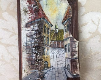 Old street: oil painting on birch bark and wooden base, from Kiev, Ukraine