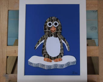 The Precarious Penguin - Recycled Postage Stamp Art