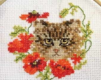 Poppies and a Calico Cat Kitten Embroidery Cross Stitch Needlepoint