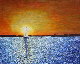 Sunrise #4 an original acrylic painting on canvas fathers day gift