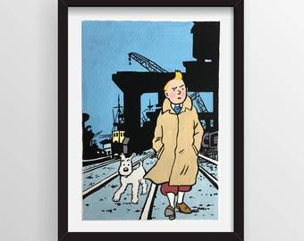 Original Comic Art - Tintin and Snowy - Gouache Painting - Not a print