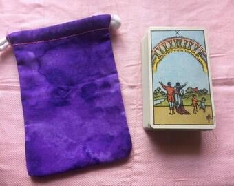 Purple Fabric With Pink Lining Drawstring Tarot Deck Bag