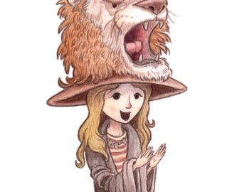 Luna Lovegood Art Print, Harry Potter Art, Harry Potter Print, Harry Potter Nursery, Harry Potter Gift.