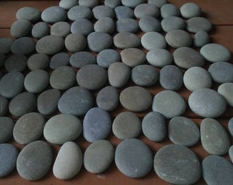 "80 Smooth Beach Stones  2"" - 2 1/2""  Flat, Round, Oval  Wedding, Painting, Crafts, Decor"