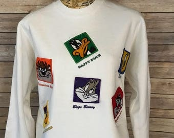 Vintage Looney Tunes Characters Embroidered Sweatshirt (L)