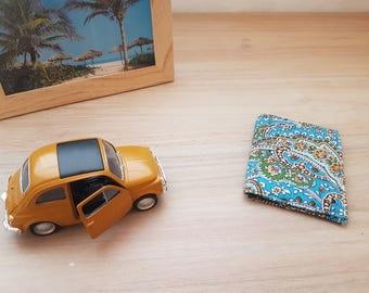 travel wallet or card holder Blue Arabesque cotton