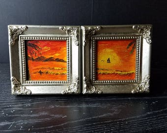 Sunset mini paintings set of two with frames or easels