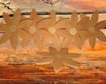 Flowers, Woodflowers, Wallflowers, natur, real wood Set of 6   27 cm