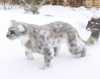 Snow leopard FOR ORDER . Realistic soft toys. Soft sculpture. OOAK. Stuffed animals. Art doll