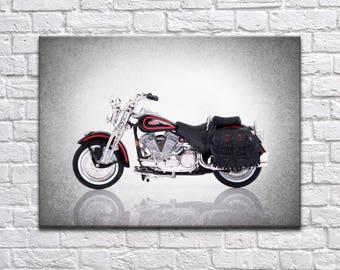1999 Harley Davidson FLSTS Heritage Springer side view print, motorcycle decor, Motorcycle poster, motorcycle poster, Harley Davidson