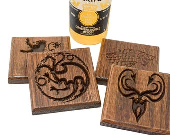 Game of Thrones Wood Coasters, Set of 4, Natural Personalized Coasters Perfect Gift for Beer Drinkers or Wine Lovers OOAK