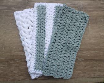 Set of Three Gray Crochet Wash Cloths