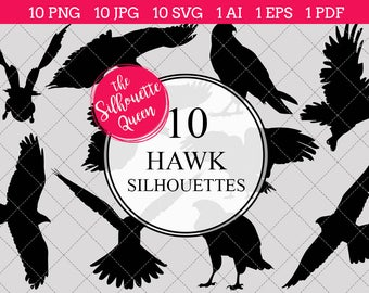 Hawk bird Silhouettes Clipart Clip Art (AI, EPS, SVGs, JPGs, PNGs, PDF) , Hawk bird Clip Art Clipart Vectors - Commercial and Personal Use