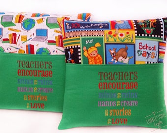 Teacher Pocket Pillow - Teachers Encourage Minds To Think Hands To Create And Stories To Love