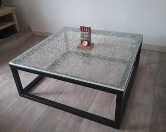 Broken glass effect coffee table