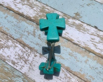Turquoise and silver cross bangle bracelet