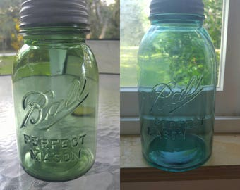 TWO Rare Green Quart & Half Gallon Vintage (1910-1923) Ball Perfect Mason Jars! FREE Shipping! Reduced Price!