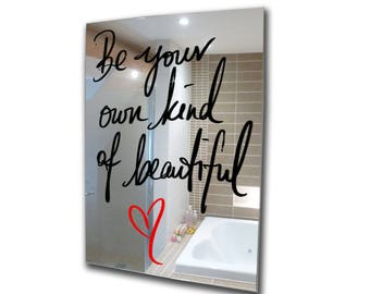 Decorative mirror-be your own beautiful-acrylic mirror-stencil mirror-3mm framed acrylic mirror-wall art A2 A3 A4 A5 custom mirror