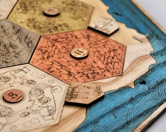 Settlers of Catan Board | Custom, Wood, Laser Cut | Heirloom Tabletop Game | Thinking Monk