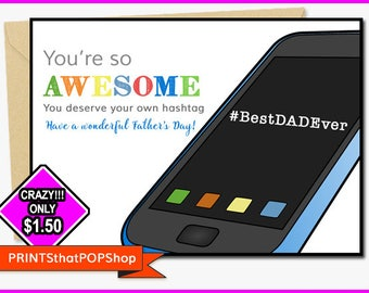 ONLY 1.50!!! SALE Invitation,Father's Day,Step Father's Day,Great Value Card,Cheap Cards,Dad's,Funny Father's Day Card,Humor,Tech Dad Card
