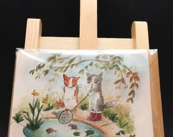 cats card watercolors