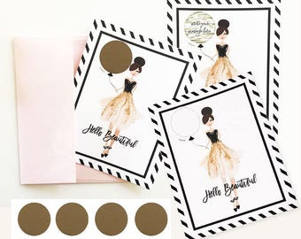 Hello Beautiful Scratch Off Cards (set of 4) - Will You By My Bridesmaid Card, Bridal Party Pop the Question Cards - Scratch Off Card