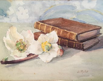 """Original Vintage Watercolor Painting of Books and Flowers Signed """"J. Rolet"""""""
