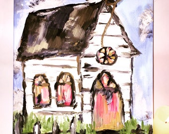 Church Painting on Canvas