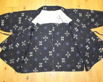 Vintage Japanese Indigo Cotton Kasuri Fabric Boro Farmer Peasant Noragi Hippari