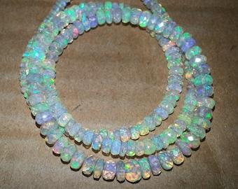 AAA Ethiopian Opal Beads Faceted Rondelle Beads Strand   Ethiopian Opal Beads   Faceted Opal Bead   AAA Welo Opal   Wholesale Opal Beads