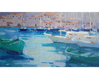 Original Art Impressionism Sea Painting EVENING Plein Air Yacht Summer Seascape MARINA painting Bay Oil on canvas Sunny SMALL Painting