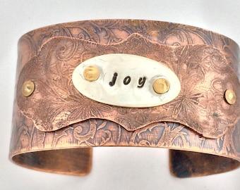 Copper Joy cuff, etched copper cuff, riveted cuff, positive message jewellery, silver and copper bracelet, unique cuff bracelet