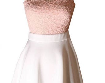 Lacey Pink and White Summer Formal Dress (S, M, L)