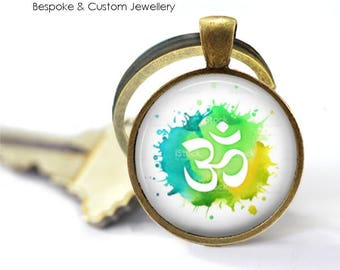 OM Key Ring • Watercolour Om • Yellow Om • Green Om • Buddhist Symbol • Yoga Jewellery • Gift Under 20 • Made in Australia (K133)