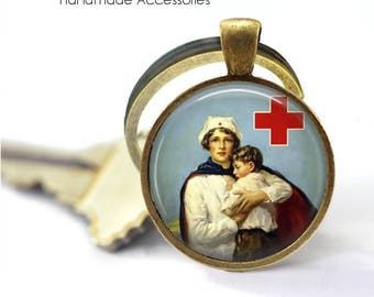 Vintage Nurse Key Ring • Red Cross Nurse • Retro Nurse • Student Nurse • Graduation • Gift Under 20 • Made in Australia (K470)