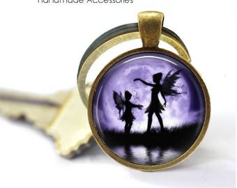 Fairy Shadow Key Ring • Mother and Child Fairies • Fairy Silhouette • Magical Shadow • Faerie • Gift Under 20 • Made in Australia (K491)