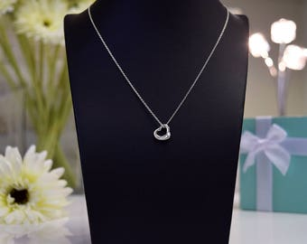 Tiffany & Co Sterling Silver Open Heart Necklace