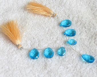 1 Strand 7Pcs  Lab created Swiss Blue Topaz  16X12mm-20X15MM Heart Briolette  Jewelry Making Semi Precious Loose Gemstone 6.5'' Long Strand