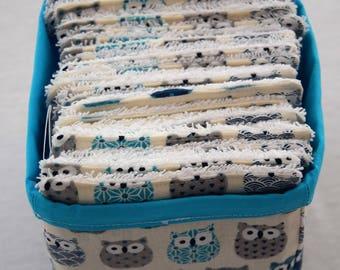 Basket with 24 wipes Eco cotton owls Theme