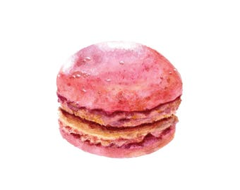 Pink Macaron Watercolor Art Print 5 x 7 inch Kitchen Art Bakery Art Dessert Art Sweets - Peg Does Art
