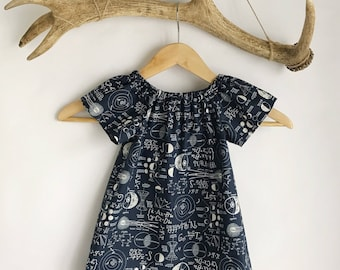 Toddler dress/ Baby girl  dress /Science chalkboard print dress / cotton peasant dress / Peasant Dress