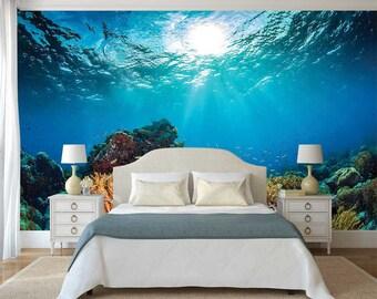 Underwater Wall Decal, Corals Wall Mural, Self Adhesive Vinyl, Underwater Wall Sticker