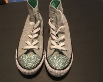 Soft Grey Converse w mint bling