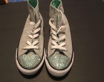 Soft Grey Converse w mint bling