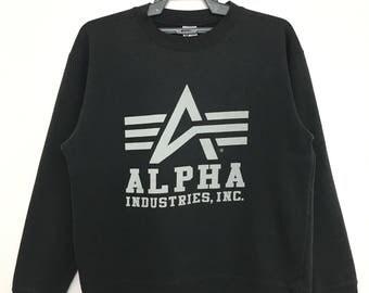Sale!! ALPHA INDUSTRIES Inc Sweatshirt Pullover Medium Size Black Color