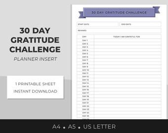 30 Day Challenge, Gratitude Worksheet, Gratitude Tracker, Habit tracker, Success Planner Sheet, A4, A5, US Letter, personal development