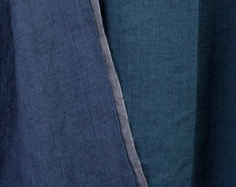 Blue & Greenish double-sided 100% LINEN Fabric - European - Pre-washed - SOFTENED - Flax textile