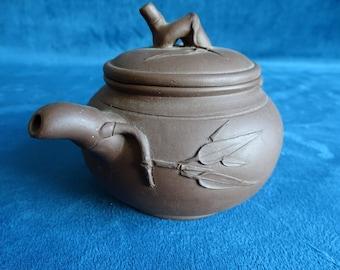 Yixing tea pot with bamboo motif-China-2nd half of 20th century